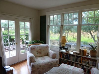 Master Bedroom sunny reading corner with great vineyard views!