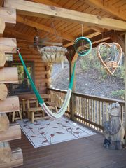 Black Mountain lodge photo - Covered deck with table and hammock off the dining room.