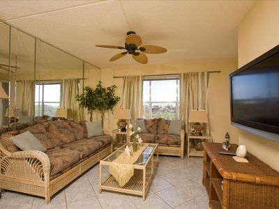 "South Padre Island condo rental - Living Room with Sleeper Sofa and 47"" LCD HDTV"