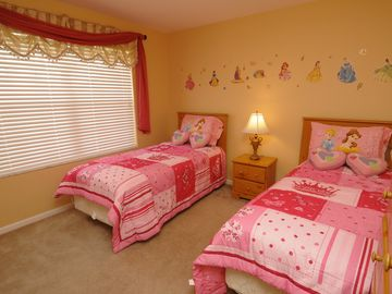 Princess Twin Bedroom with Flat Screen TV