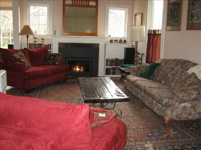 Spacious, comfortable seating in the living room by the gas fireplace