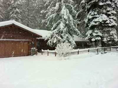 A snowy day at Incline Cabin.