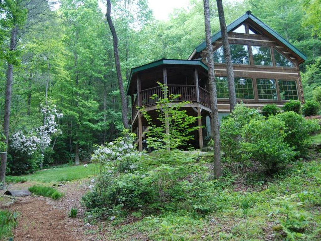 Enchanting Upscale Log Cabin 30 Ft Waterfall Vrbo