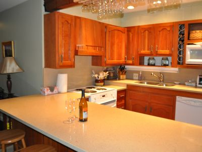Fully stocked kitchen with all amentities and a great eating area.