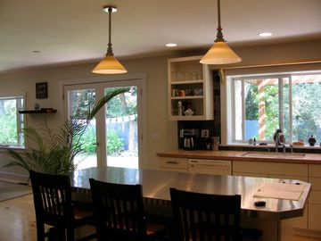 Kitchen island and french doors to patio area