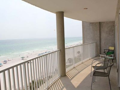 Spacious balcony extends length of unit, access from living room and master bdr.
