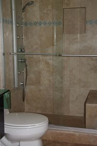 Master Bathroom Shower with Shower Panel.