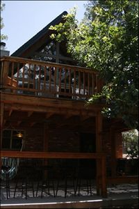 Payson chalet rental - view of the house from the horseshoe pit