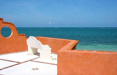 Roof terrace looking to Caribbean Sea