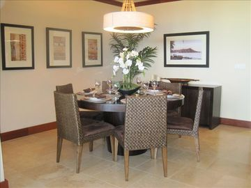 Dining room with beautiful designer furniture