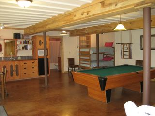 Pendaries house photo - Downstairs game room with pool table and bunk beds