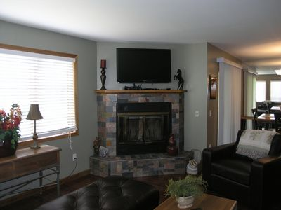 Stacked Slate Fireplace With  Flat Screen HDTV