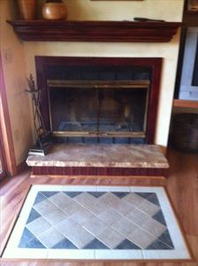 Wood burning fireplace, inlay tile