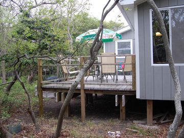 Rear private deck: gas grill, new table & chairs