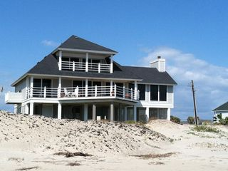 Galveston house photo - view of house from beach