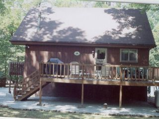 Enjoy cooking out on the side deck - Locust Lake chalet vacation rental photo