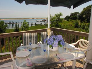 New Seabury house photo - dine on the deck