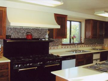 Kitchen with 10 burner gas stove