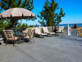 Slaughter Beach house photo - Oversized deck just steps to the beach