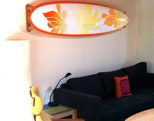 Cardiff by the Sea cottage photo - Get into the beach vibe with the custom surfboard hanging on the wall