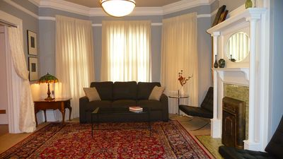 San Francisco condo rental - Formal Living&Dining Room Period Detail Oriental Carpet Room&Board Queen+Sofabed