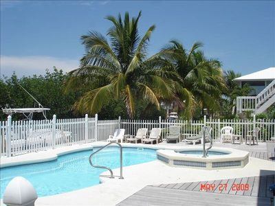 largest pool of all rentals in lower Keys, hot tub, large deck, hammock