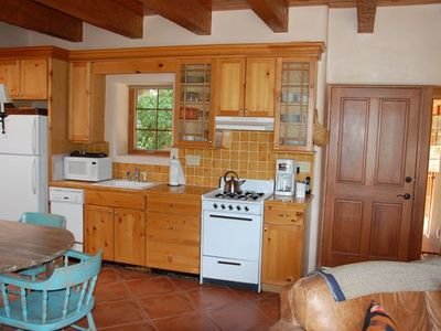 Santa Fe house rental - Casita kitchenette. Small, but it has everything you need to cook and bake.