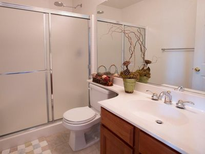Santa Ynez estate rental - Downstairs Bathroom with Shower and One Sink