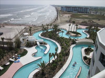 View of the Lazy River and Gulf Waves from the Balcony