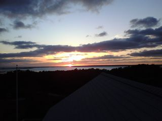 Chappaquiddick house photo - Sunset view from deck of Katama Bay