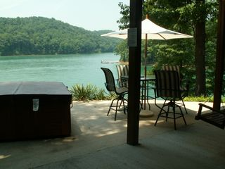 La Follette cottage photo - Lower patio, hot tub & lake