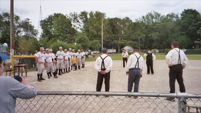 Our local Vintage Base Ball team at Beery Field, 3 blocks away. Huzzah!