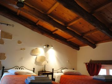 Twin bedroom on the mezzanine of the villa.
