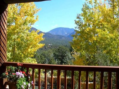 Taos estate rental - View of Taos Mountain from Front Deck with Aspens