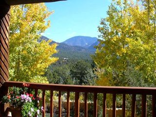 Taos estate photo - View of Taos Mountain from Front Deck with Aspens