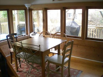 Screened dining area