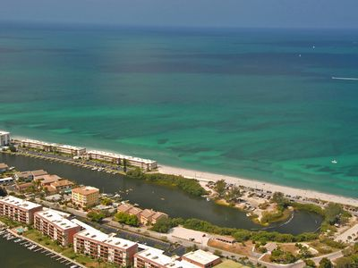 Aerial view of Fisherman's Cove at Turtle Beach on Siesta Key; Gulf and Bay view