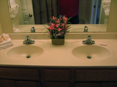 Double sinks in the master bath.