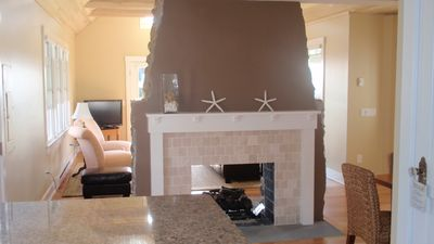 Narragansett cottage rental - Kitchen fireplace