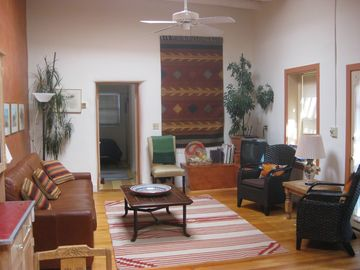 Santa Fe house rental - Spacious living room with skylights and super high ceilings