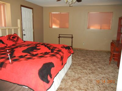 Lower bedroom is HUGE...plenty of room for extra sleeping bags! 1/2 bath also
