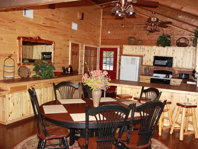 Kitchen and dining view in the cabins