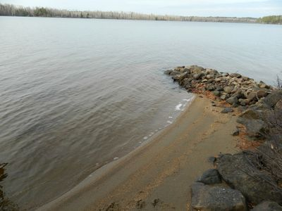 Sandy shoreline provides a great swim spot