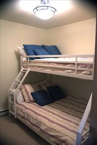 bunk room -- full mattress on the bottom and twin on top