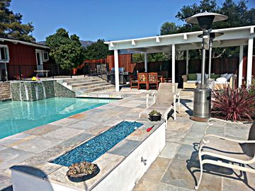 Goleta house rental - Pool, Jacuzzi, Fire Pit, BBQ and Outdoor Living-Dining Space