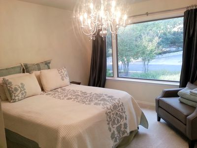 Beautiful finished guest room give you a wonderful view of outside greenery