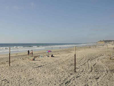 Del Mar Beach steps from the house looking north