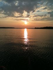 Lake Gaston cabin photo - Sunset out on the lake. We always take a sunset cruise to watch it go down.
