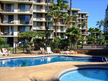 Kihei condo rental - View of pool and kiddie pool, a hot tub and sauna are also available.