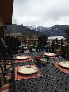 Enjoy a meal on the deck with views of Mt Baldy, Grand Lake, and Shadow Mtn Lake